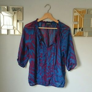 Express 3/4 Length Sheer Blouse Size S/P